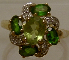 Russian Diopside & Diamond  9ct Gold Cluster Ring - SOLD