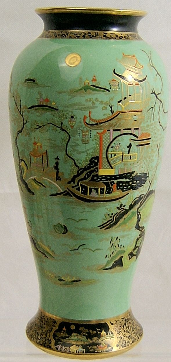 W R Carlton Ware Large Green Temple Vase 1920s Sold
